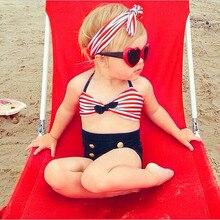 3Pcs Infant Kids Baby Girls Straps Stripe Swimwear Summer Swimsuit Bathing Bikini Set ja30ja19