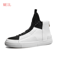 Increase Within Mens High Top Casual Shoes Red Men Sneakers 2019 New Fashion High Quality Man Hip-Hop Shoes White Lace-up Flats new 2016 high quality men genuine leather casual lace up shoes fashion flats luxury brand low top men shoes red white black