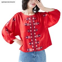 Plus Size Spring Summer Tops for Women 2019 Literary Vintage Ethnic Embroidery Mori Girl Loose Round Neck Cotton Linen Shirts