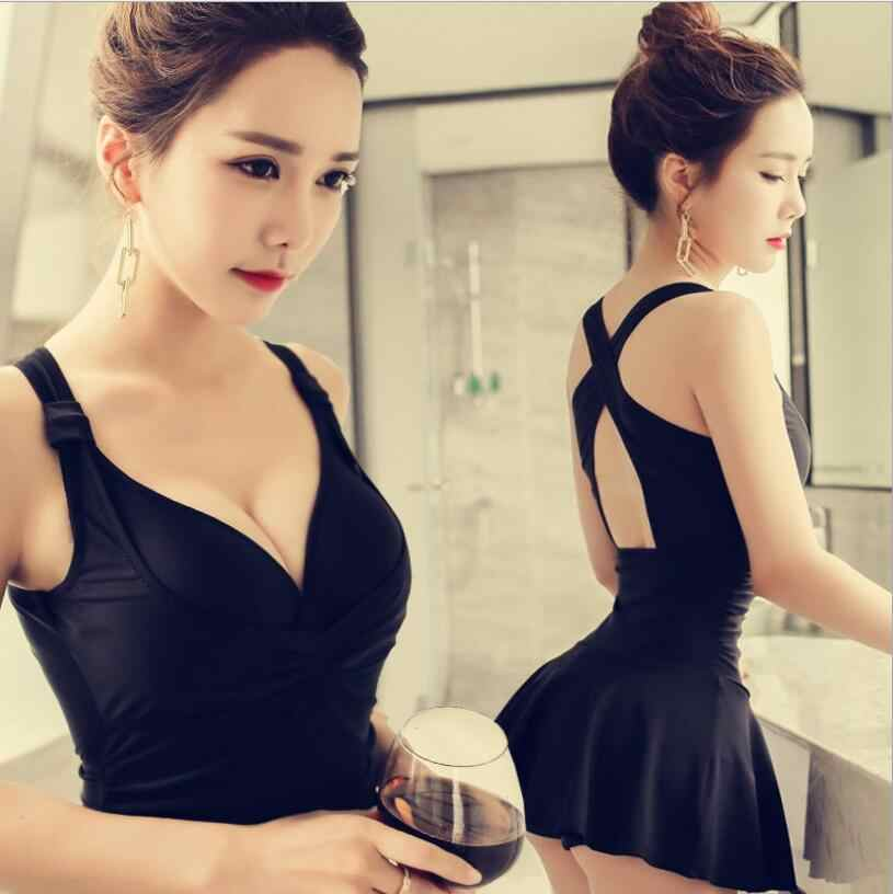 1421affcf6d48 2019 Solid One Piece Swimsuit Push Up Skirt Hot Spring Swimwear Sexy  Bathing Suit Swimming Dress