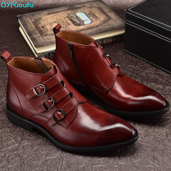 QYFCIOUFU Zipper / Monk Strap Men's Dress Boots Male Shoes Genuine Leather Ankle Motorcycle Boots British Style Chelsea Boots