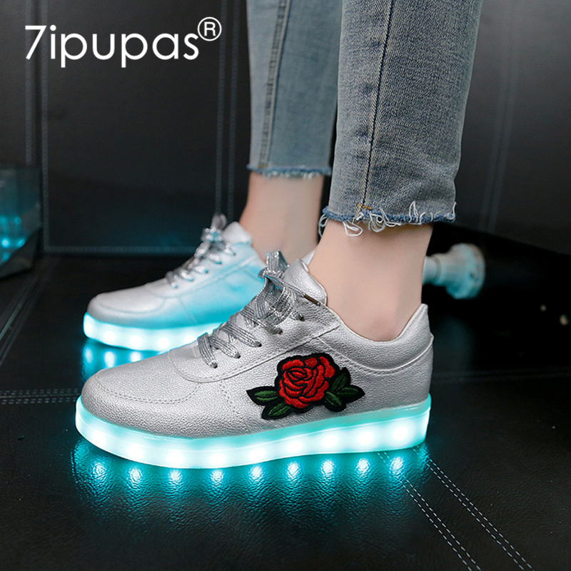 7ipupas China Style Rose Flower Glowing Sneakers New 30-44 Luminous Sneakers For Girls Boys Women Shoes With Light Led Shoes