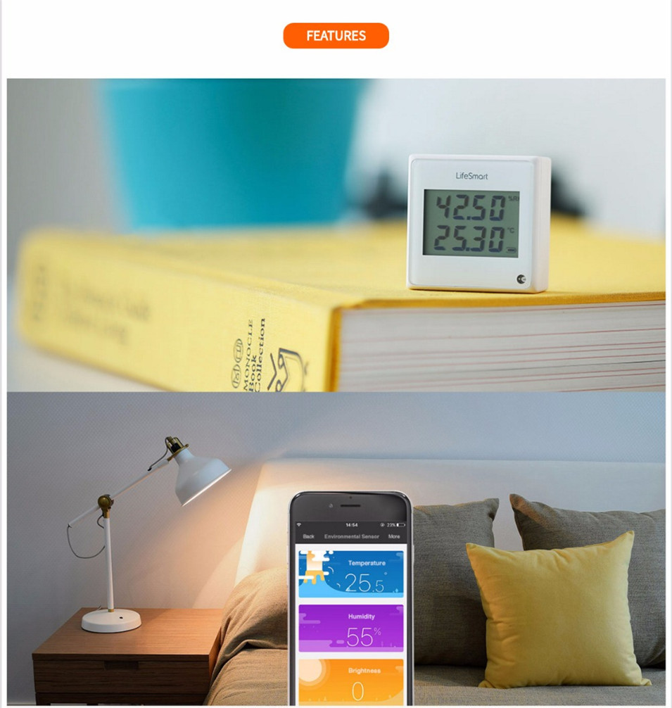 8 --- Lifesmart Multifunctional Environment Sensor 433MHZ Monitor Indoor Temperature, Humidity App Realtime View Remote Control by APP