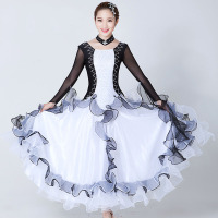 Sexy Women International Standard Ballroom Dance Dress Black White Competition Flamenco Dress for Female Spanish Dance Dress 89