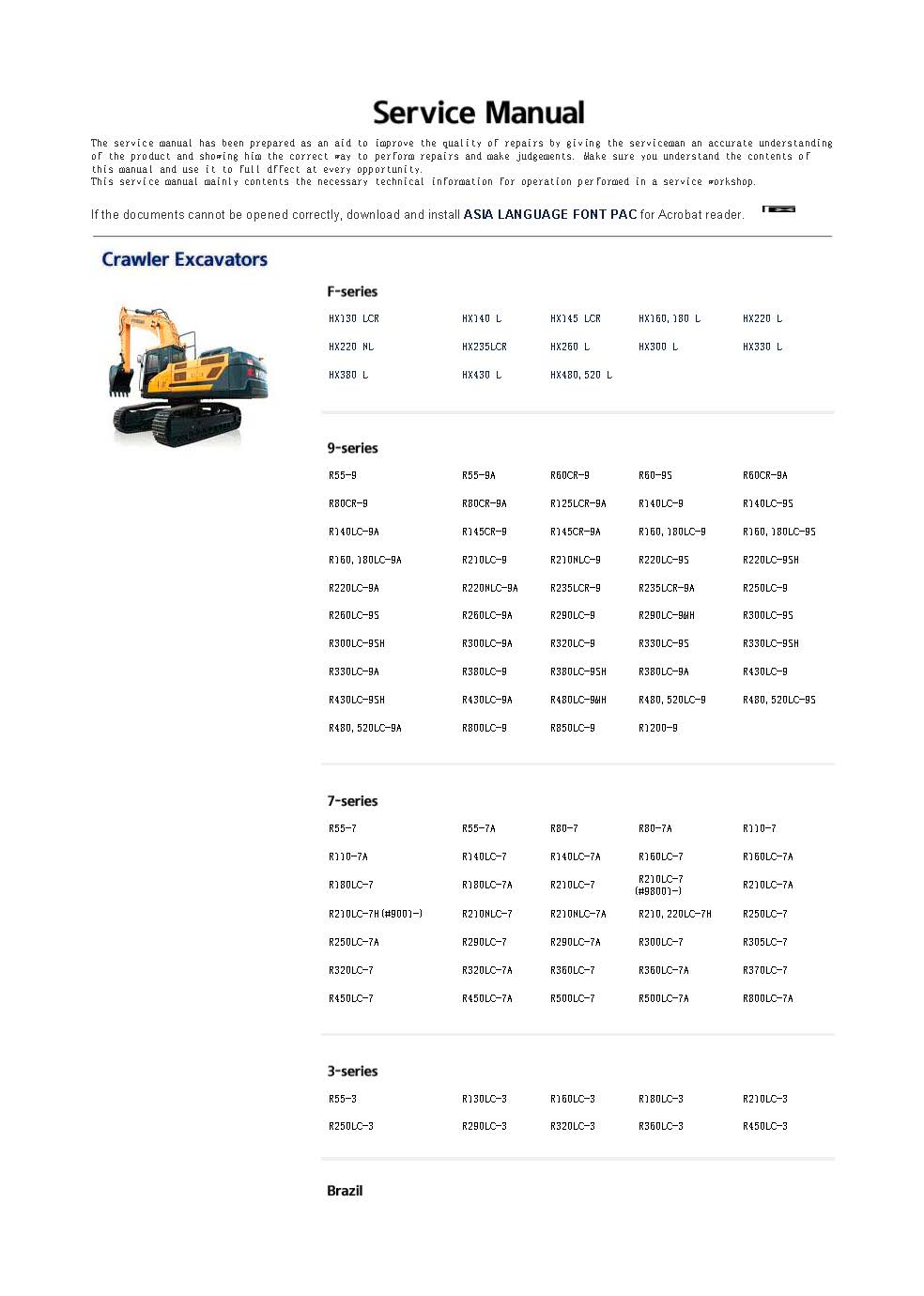 for hyundai robex Construction equipment + engine Service Manuals and  Wiring Diagrams 2018 FULL SET