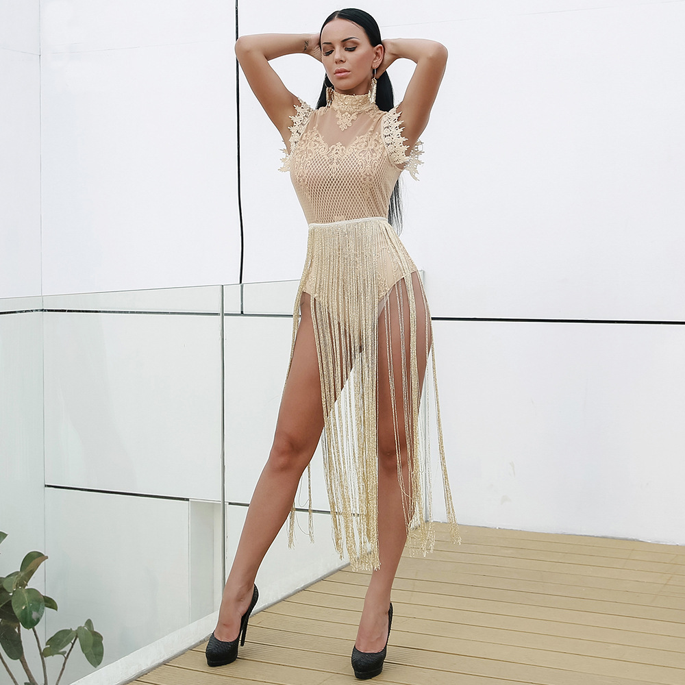 Sexy Women Bodycon Bandage Dress Fashion Celebrity Party Tassel Black White Golden Color Hot Style Dresses