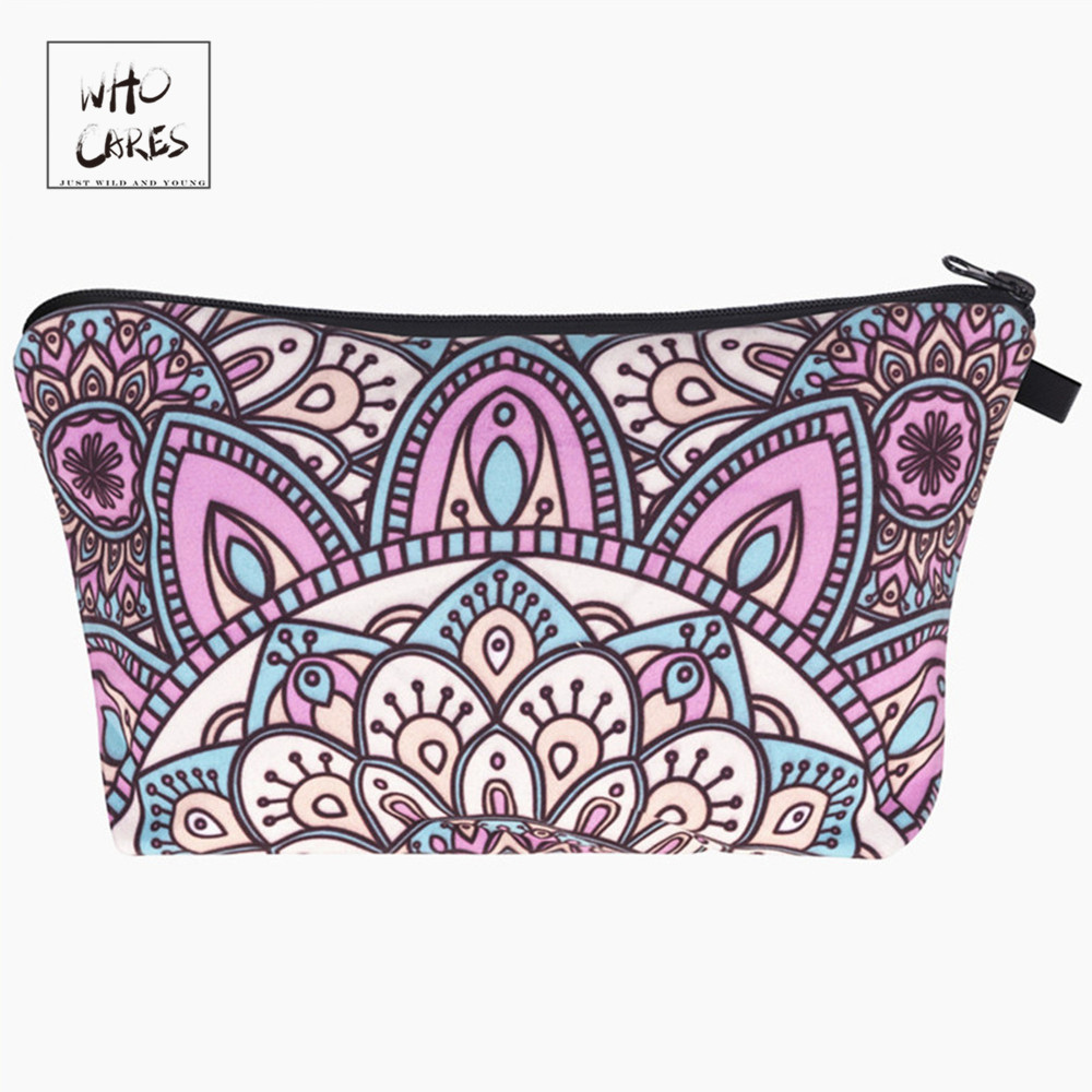 Who Cares Fashion Printing Mandala Turquoise Makeup Bags Cosmetic Organizer Bag Ladies Pouch Women Cosmetic Bag