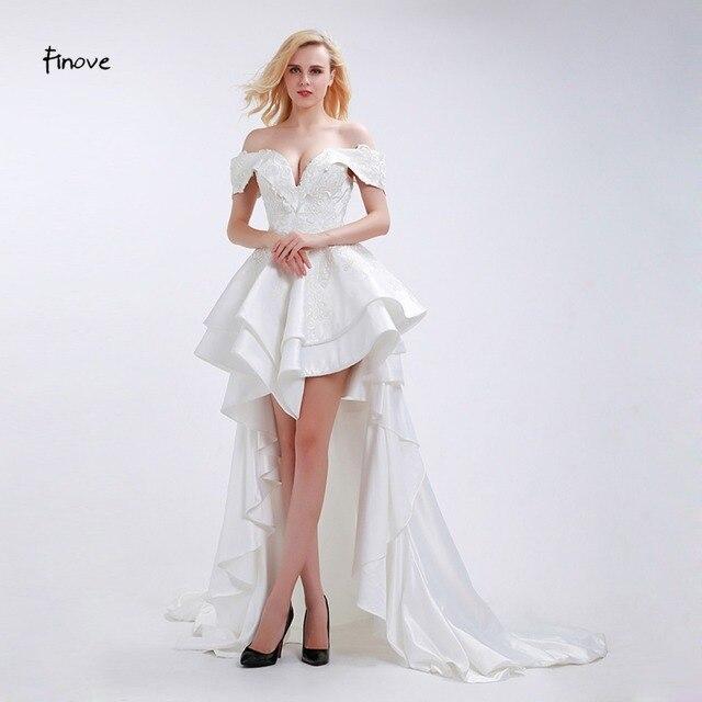 Finove Elegant Vintage Wedding Dress 2018 New Arrival Deep V Boat Neck Off The Shoulder High