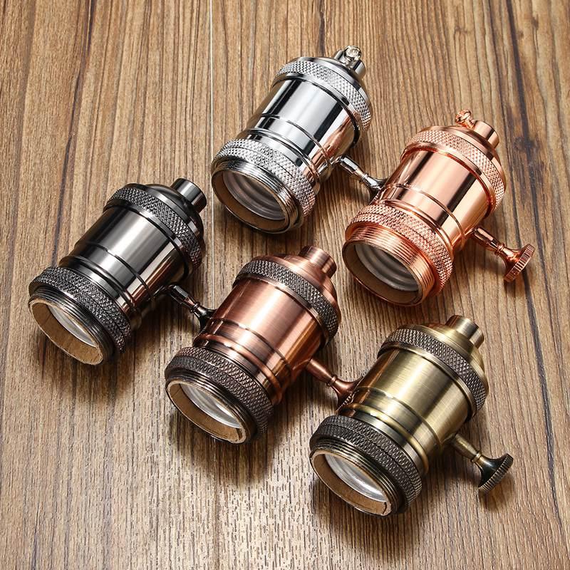 Base en aluminium vintage pour douille dampoule industrielle industrielle E27 de douille d Rose rouge