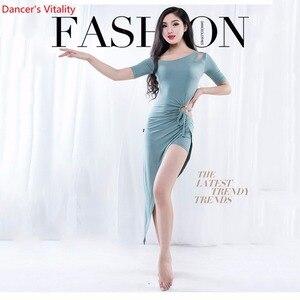 Image 1 - Commercio allingrosso di Danza Del Ventre Gonne Delle Donne di Estate di Un Pezzo di Danza Orientale Costume Manica Corta Sexy Split Abbigliamento