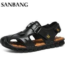 922db53e0c0 2018 marca de cuero suave verano hombres Sandalias Zapatos hombres  transpirable luz playa casual alta calidad