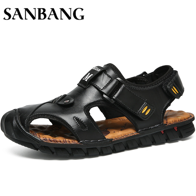 2018 Brand Leather Summer Soft Male Sandals Shoes Men Breathable Light Beach Casual High Quality Walking Sandals wx4