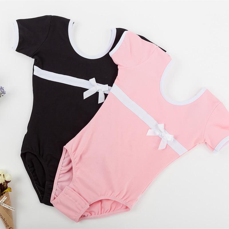 cotton-short-sleeves-girls-leotards-font-b-ballet-b-font-dance-bodysuit-kids-gymnastics-dance-leotard-pink-black-ballerina-outfit