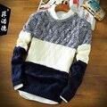 Inverno e outono camisola bonito do menino dos homens blusas roupas Blusas adolescente O-pescoço longo-luva bordada com capuz da Camisola térmica