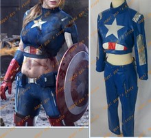 Free shipping Custom-made High quality The Avengers Captain America Theatrical Cosplay Costume for women