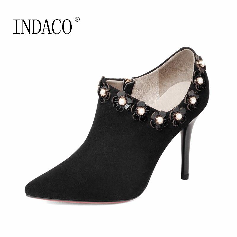 где купить Ankle Booties Women's Genuine Leather Boots Pointed Toe Flowers Thin High Heel Autumn Shoes 9cm по лучшей цене