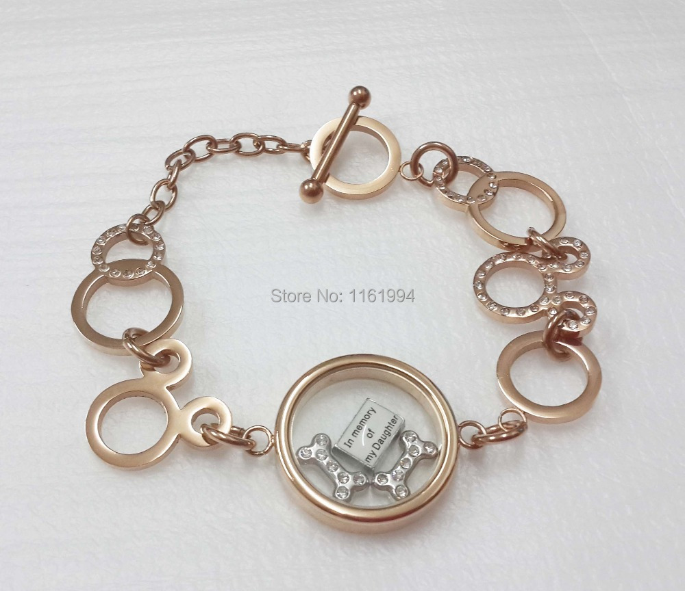 Stainless Steel Women s Rose Gold Color Circle Floating Lockets Bracelet with Toggle Clasp