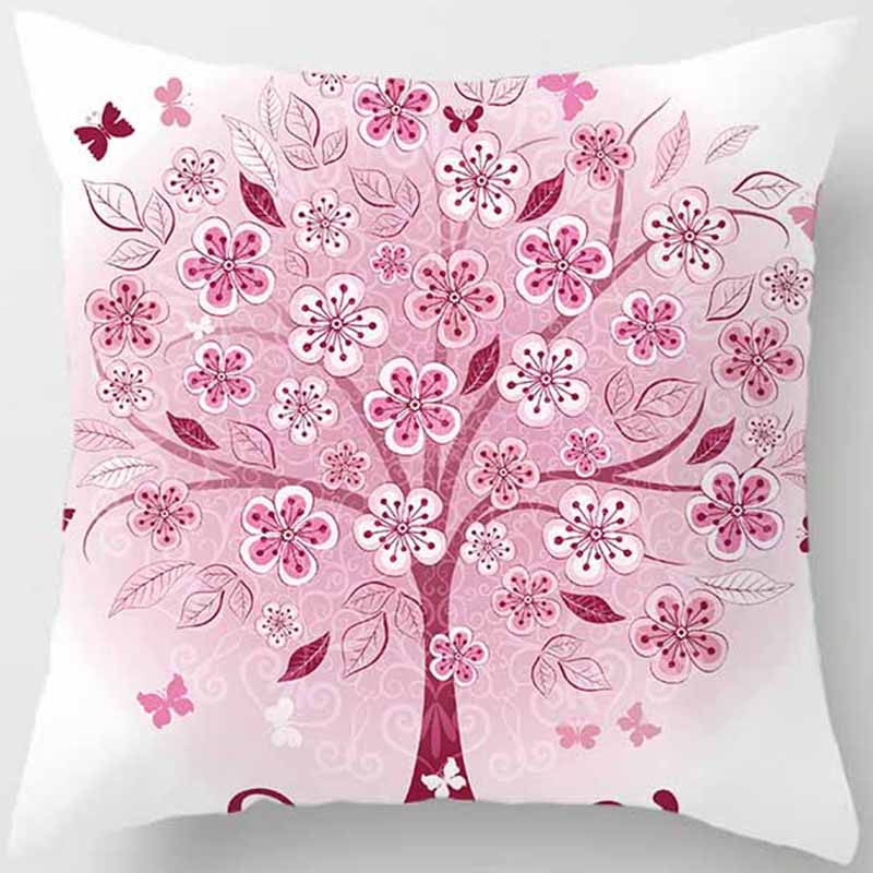 Hot sale creative trees pattern pillow case men women girls ladies square pillow cases throw pillow cover 45 45cm in Pillow Case from Home Garden