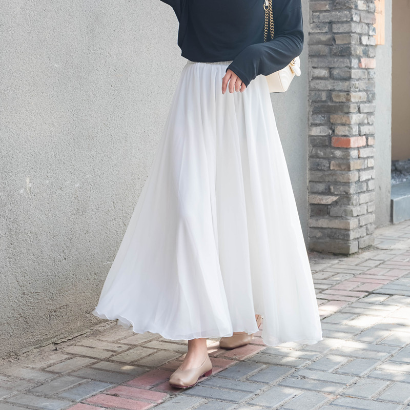 2019 Three Layer High Waist Women Boho Long Chiffon Skirts Saia Good Quality Women Maxi White Skirt Faldas Jupe Femme