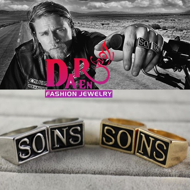 For Sons of Anarchy Set Ring Jax Teller Ring silver and gold color