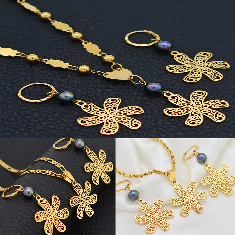 Anniyo Guam Flower Jewelry Set Vines Designs Necklace Earrings Sets Gold Color Micronesia Marshallese Hawaii Kiribati #102721