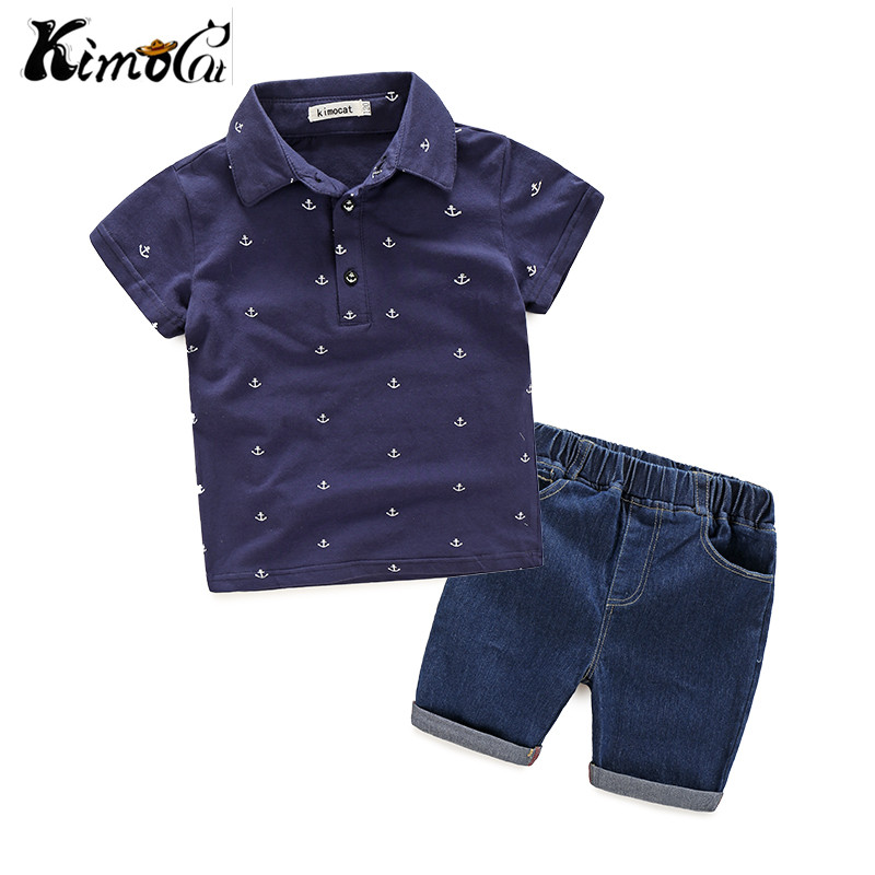Kimocat Summer navy windboat anchor pattern boy's casual sailing suit summer mid - boy cotton shirt denim trousers suit