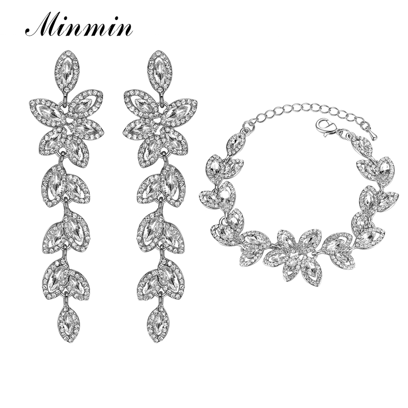Minmin Elegant Silver Color Leaf Crystal Bracelets Earrings Bridal Jewelry Sets for Women Prom Wedding Jewelry Christmas EH282