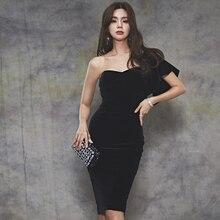 Bgteever elegante preto de um ombro de veludo feminino vestido de festa vintage cintura fina midi feminino sem alças vestidos femme 2020