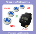 Queue Electronic Restaurant Wireless Call For House 15pcs of H3 service Bells and 1 pcs of P-300 Pager Watch