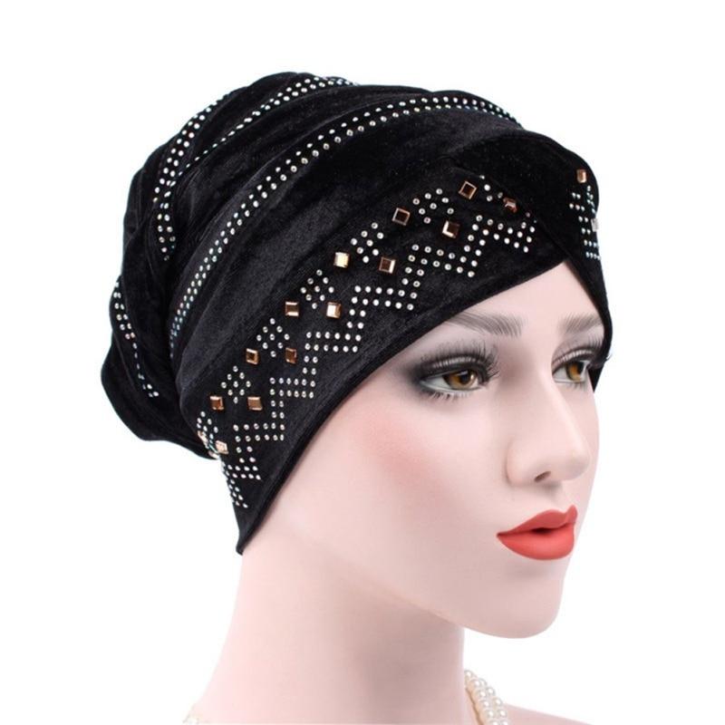 Woman Hijabs Velvet Big Rhinestone Turban Head Cap Hat Beanie Ladies Hair Accessories Muslim Scarf Cap Hair Loss 12 Colors