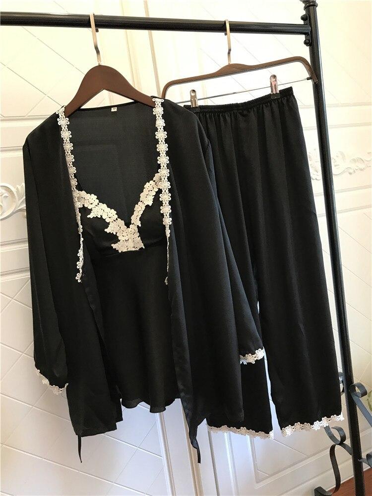 Image 3 - Satin Pajamas for Women Elegant 3Pieces Sleepwear Female Sexy Lace At All Seasons Silk Pajamas Set Coat+Vest+Pants 2019 Pijama-in Pajama Sets from Underwear & Sleepwears
