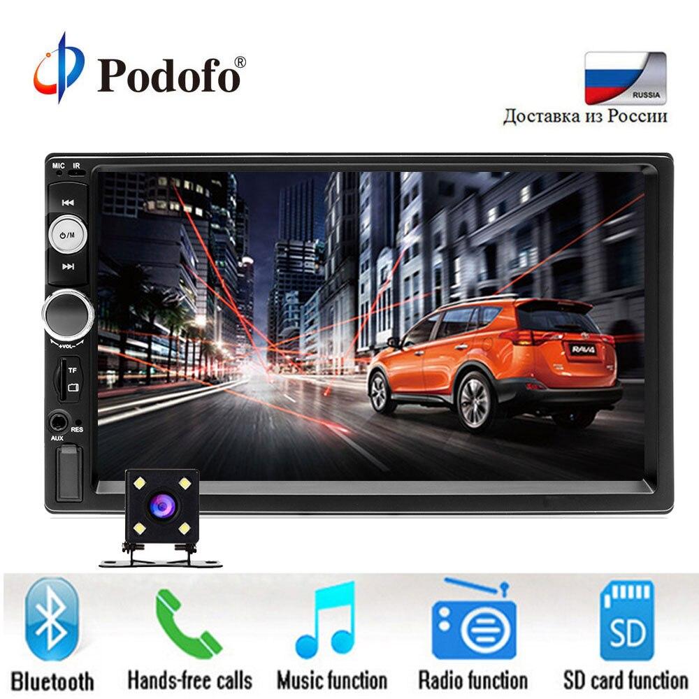 Podofo 2 rádio do carro um din 7 HD Player MP5 Display Digital de Tela de Toque Bluetooth USB SD Multimídia 2din Autoradio câmera de Visão traseira