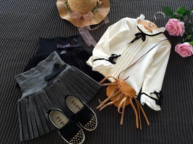 Новый 2016 Осень зима детская одежда девушки бюст юбки тонкие шерстяные плиссированные юбки черный/серый T ~ 12 малыша девушки одежда