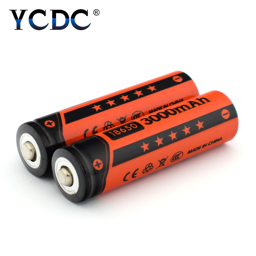 YCDC 2x Li-ion 18650 Rechargeable Batteries 3.7V 3000mAh Lithium Battery for 3.7 v Power Bank Flashlight Battery Whit Batery Box 3pcs 100% original varicore 18650 2500mah li ion rechargeable battery 3 7v power electronic cigarette batteries 20a discharge