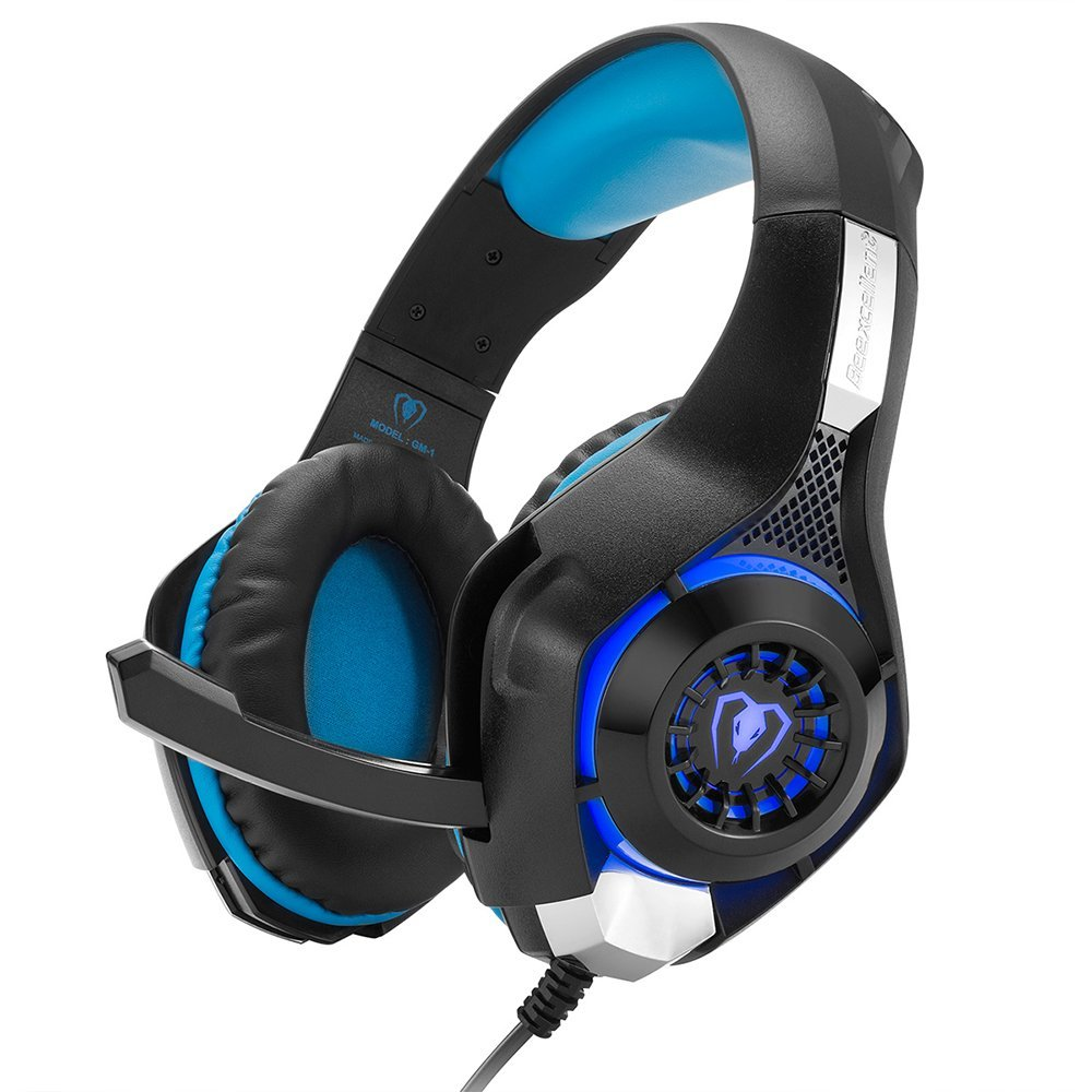 Beexcellent GM-1 Gaming Headset, Stereo Gaming Auricolari Isolamento Acustico/Led/Surround Bassi Over-ear/Mic USB & 3.5