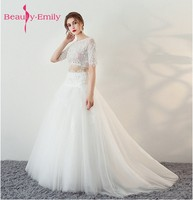 Beauty Emily Applqies White Wedding Gowns 2017 Sexy Scoop Tulle Appliques Beach Formal Bride Dress Long Ivory Wedding Dresses