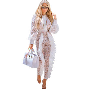 Elegant White Lace Sexy Long Sleeve Rompers Overalls