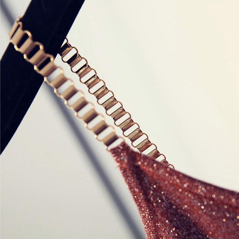 Image 2 - H 2019 женский топ на бретелях, сексуальный клубный топ на бретельках для девушек, женский сексуальный свитер с металлическим ремешком и v образным вырезом, тонкий яркий блестящий сетчатый свитер-in Кроп-топы from Женская одежда on AliExpress
