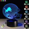 Free Shipping 3D Night Light NFL Detroit Lions Football Helmet Creative Illusion Bedside Lamp 7 Colors Changeable Birthday Gift
