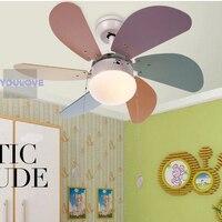 Современные Для детей Потолочные вентиляторы лампы Главная Спальня исследование кафе вентилятор света отель магазин потолочный вентилято