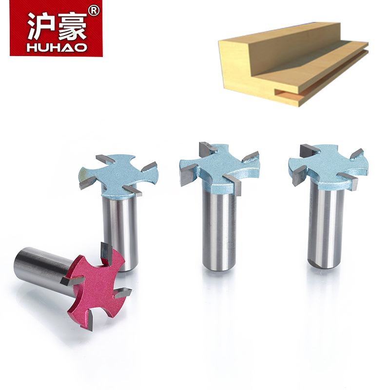 HUHAO 1pcs 1/4 1/2 Shank 4 edge T type slotting cutter woodworking tool router bits for wood Industrial Grade milling cutter huhao 1pc 1 2 1 4 inch t type bearings wood milling cutter industrial grade rabbeting bit woodworking tool router bits for wood