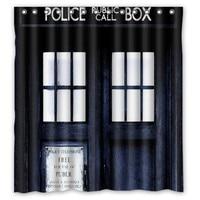 New Doctor Who Police Box Bathroom Waterproof Fabric Shower Curtain Custom 66 X 72 60 X