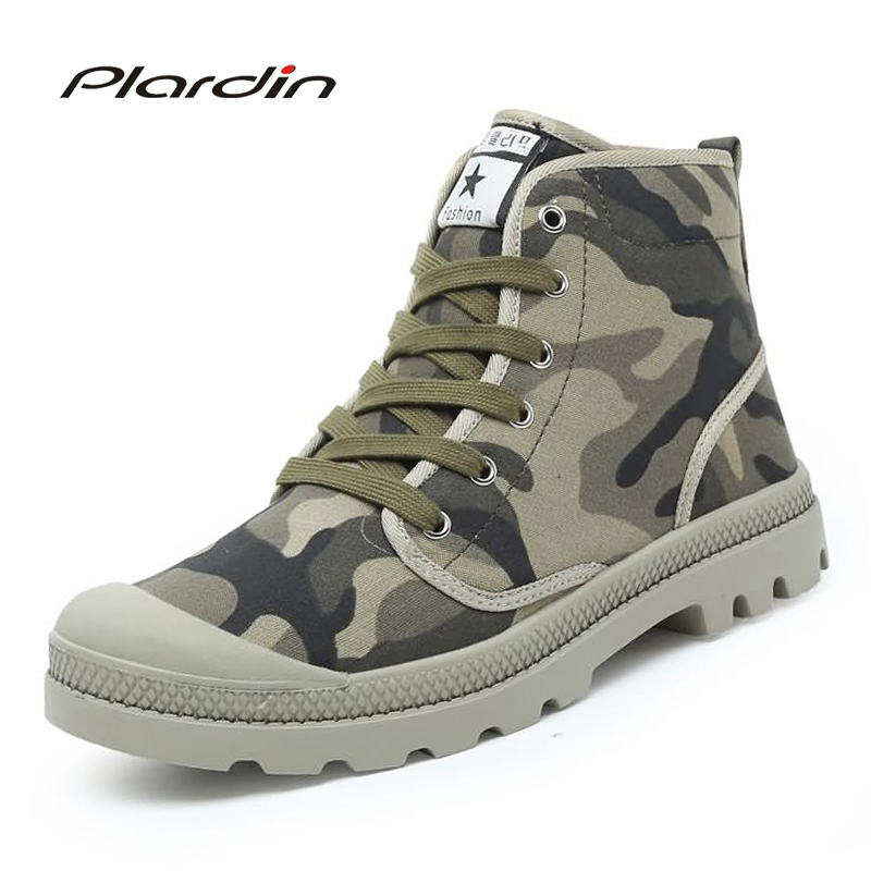 Plardin 2017 Spring Autumn Man Fashion Comfortable breathable Cross tied Canvas Camouflage boots Winter Boots Antiskid