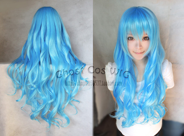 Macross F Blue Wave Long Synthetic Full Lace Cosplay Wig.80cm.Free Shipping