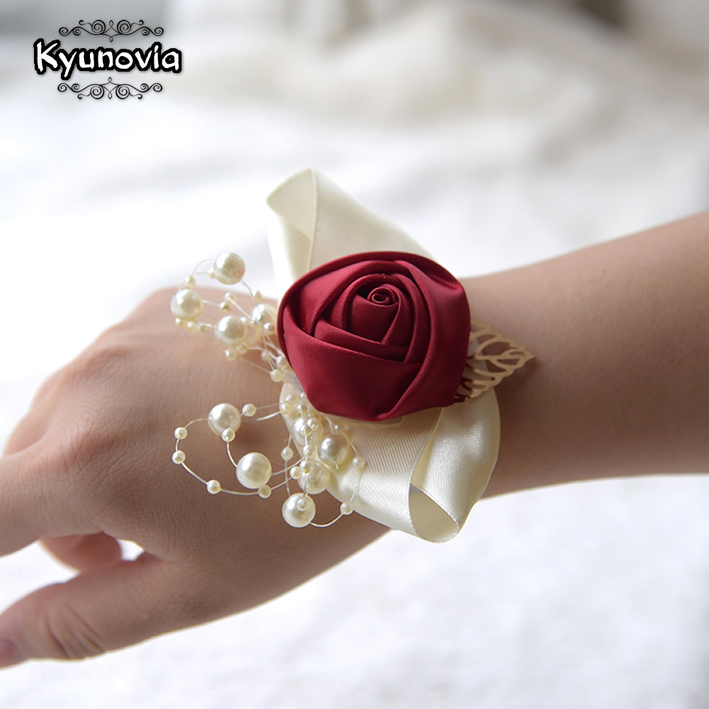 Kyunovia Wedding Prom Corsage Bride Wrist Flower Ceremony Corsages Party Pearl Bracelet Handmade Bridesmaid Hand Flowers FE89
