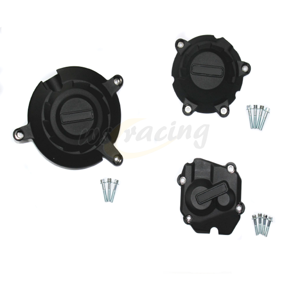 Motorcycle Black Engine Cover Protection Case Set Kit For KAWASAKI ZX10R ZX 10R -2016 2012 2014 2015 2016