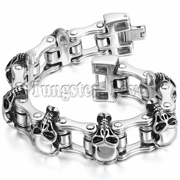 Nouveau Bracelet pour hommes en acier inoxydable lourd lien poignet crâne conception motard vélo moto chaîne Bracelet 23 cm * 26mm