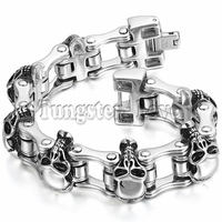 New Men S Large Heavy Stainless Steel Bracelet Link Wrist Skull Design Biker Bicycle Motorcycle Chain