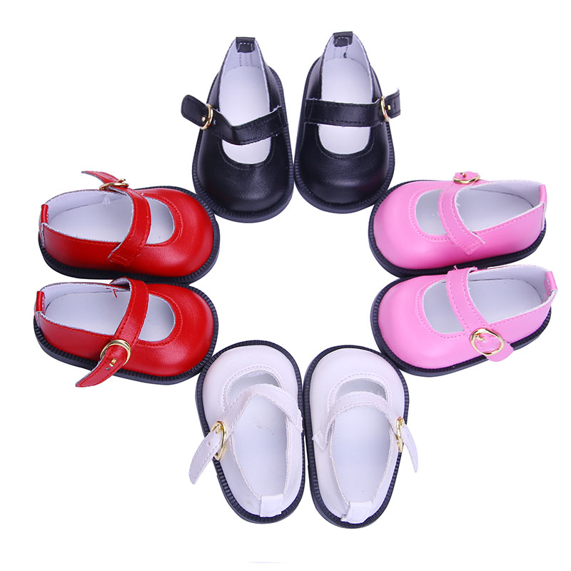 Luckdoll Pretty Leather Flat Shoes Fit 18 Inch American&43 CM Baby Doll Clothes Accessories,Girl's Toys,Generation,Birthday Gift