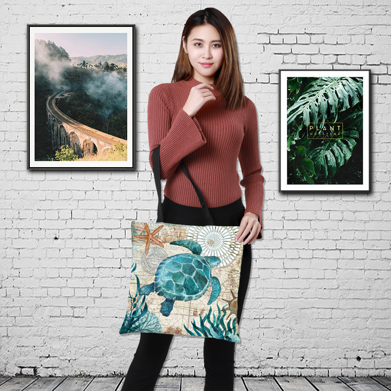 Customize Tote Bag Seahorse Turtle Octopus Pattern Traveling Shoulder Bags Eco Linen Shopping Bag For Women With Print Funny Bag
